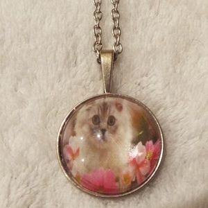 Pretty White kitten in flowers cabochon necklace